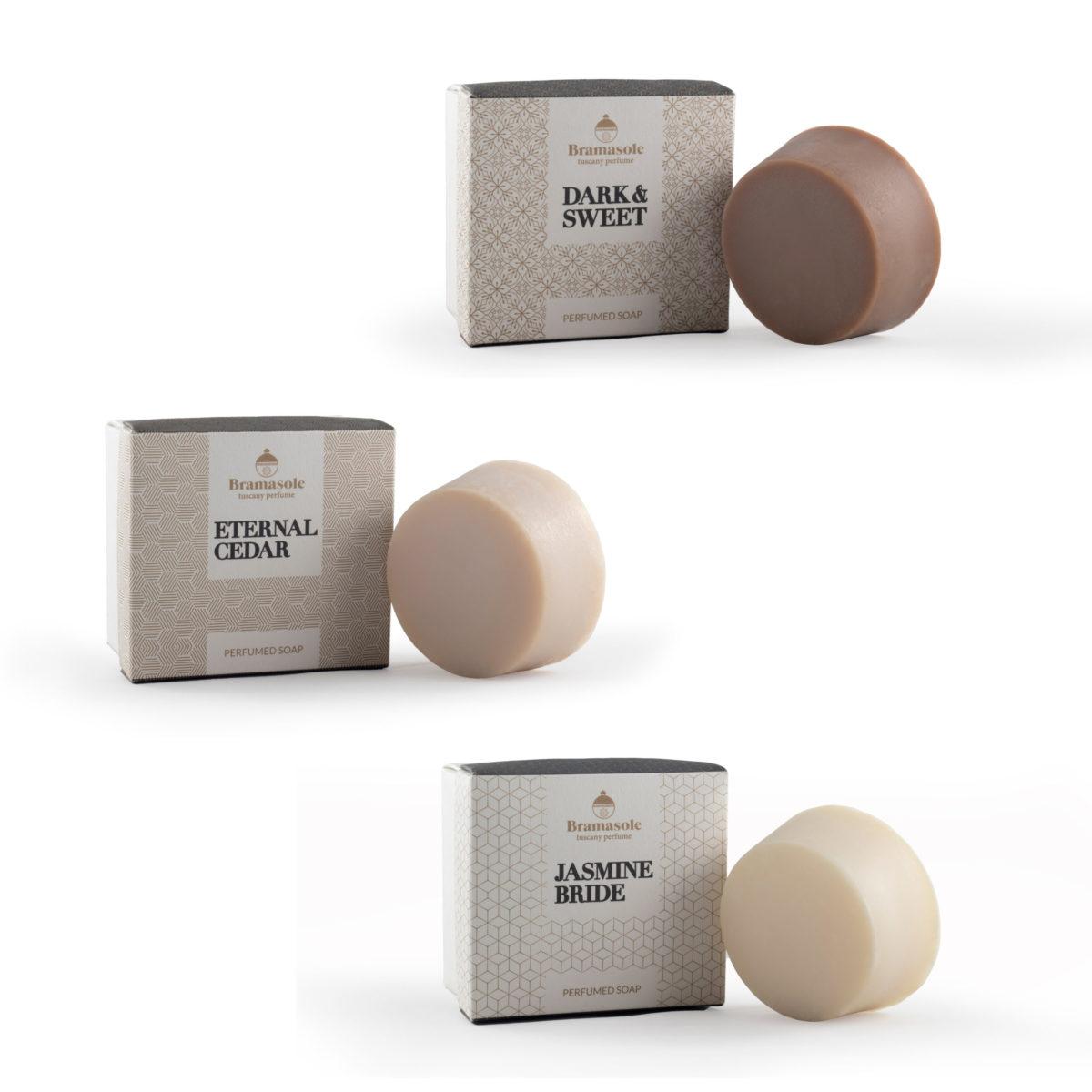Soap set with Eternal Cedar, Dark e Sweet, Jasmine Bride